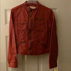 Michael Kors Red Leather Moto Jacket